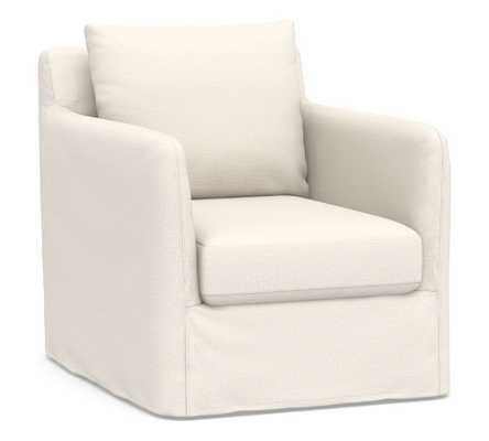 Bennett Slipcovered Swivel Armchair, Polyester Wrapped Cushions, Performance Chateau Basketweave Ivory - Pottery Barn
