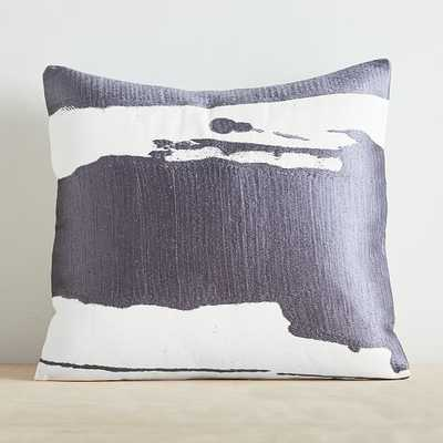 "Ink Abstract Pillow Cover, 20""x20"", Blue Iron - West Elm"