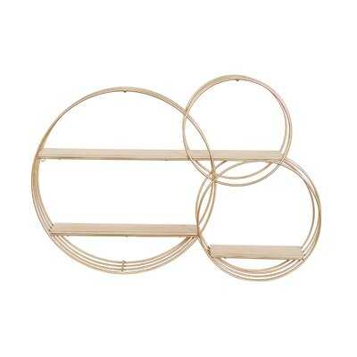 Aerona 3 Piece Cirle Metal Tiered Shelf with Hooks - Wayfair