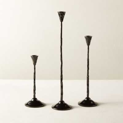 Rho Black Taper Candle Holder Set of 3 - CB2