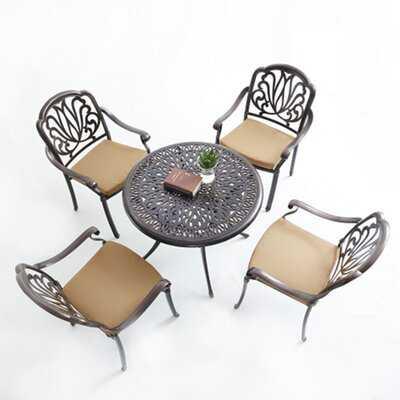 Outdoor Furniture 5-Piece Cast Aluminum Patio Dining Set With Cushions - Wayfair