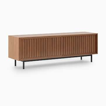 "Slatted Media Console, Walnut, Antique Bronze, 67"" - West Elm"