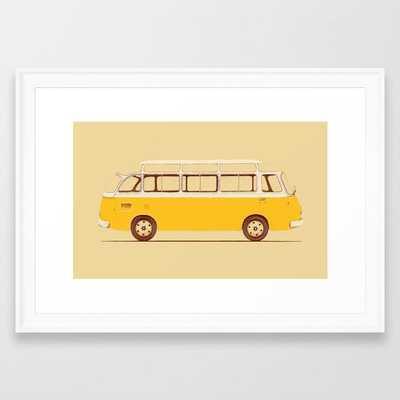 Yellow Van Ii Framed Art Print by Florent Bodart / Speakerine - Scoop White - SMALL-15x21 - Society6