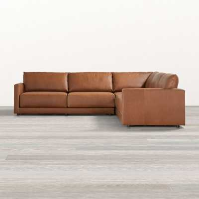 Gather Leather Petite 3-Piece Sectional - Crate and Barrel