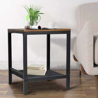 Industrial 2-Tier Side Table With Storage Shelf End Tables Living Room Square Coffee Table Nightstand Metal Frame Bedside Table For Office Bedroom in , Retro Brown - Wayfair