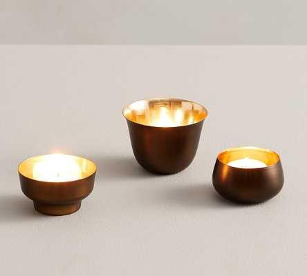 Helen Tea Light Candle Holders, Brass, Set of 3 - Pottery Barn