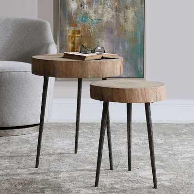 """Samba 18"""" Wide Natural Wood Grain Nesting Tables Set of 2 - Style # 83W81 - Lamps Plus"""