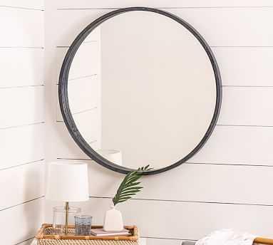 "Silverdale Round Mirror, Black, 34"" x 34"" - Pottery Barn"