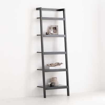 """Sawyer Black Leaning 24.5"""" Bookcase - Crate and Barrel"""