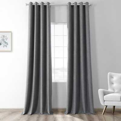 Exclusive Fabrics & Furnishings Modern Grey Gray Thermal Room Darkening Heathered Italian Woolen Weave Grommet Curtain - 50 in. W x 84 in. L (1 Panel) - Home Depot