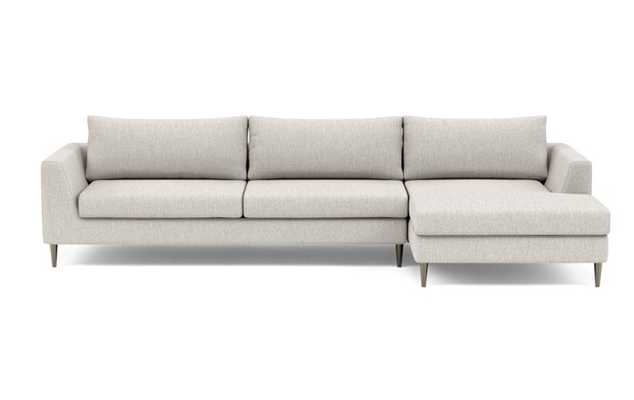 Asher Right Sectional with Beige Wheat Fabric, extended chaise, and Plated legs - Interior Define