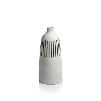 "Amirrah White/Black 25.5"" Crystal Glass Floor Vase - Wayfair"