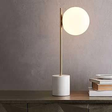 Sphere + Stem Table Lamp, Brass/Milk Glass, 1-Lights, Set of 2 - West Elm