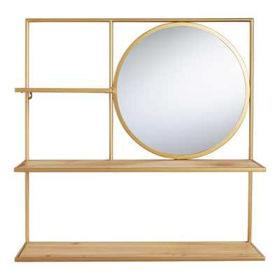 Natural Wood and Gold Avery Wall Shelf with Mirror by World Market - World Market/Cost Plus