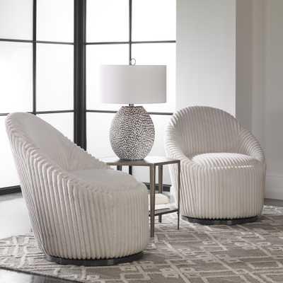 Crue White Swivel Chair - Hudsonhill Foundry