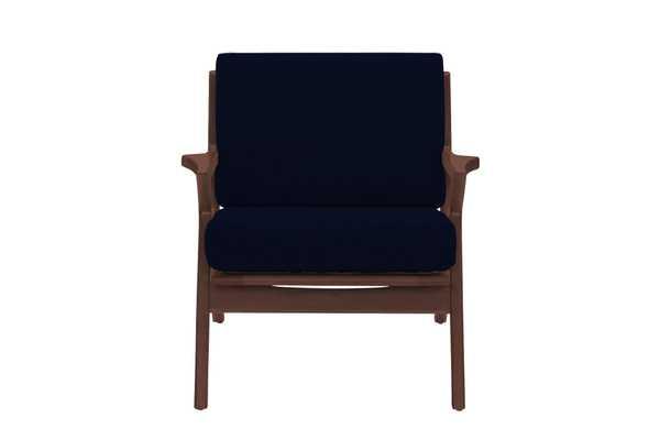 Blue Soto Mid Century Modern Apartment Chair - Royale Cobalt - Walnut - Joybird