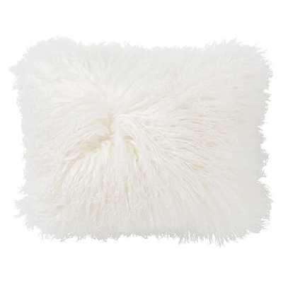 "Duplicate Mongolian Fur Pillow Cover, 12""x16"", White - West Elm"