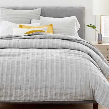 Hemp Cotton Hazy Stripe Coverlet, Full/Queen, Misty Gray - West Elm