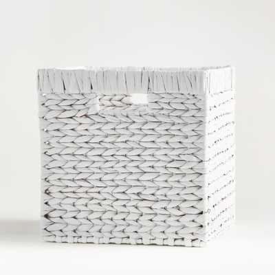 "White Wonderful Wicker 11"" Cube - Crate and Barrel"