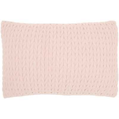Mina Victory Life Styles Blush 14 in. x20 in. Rectangle Quilted Chevron Polyester Suede Throw Pillow - Home Depot
