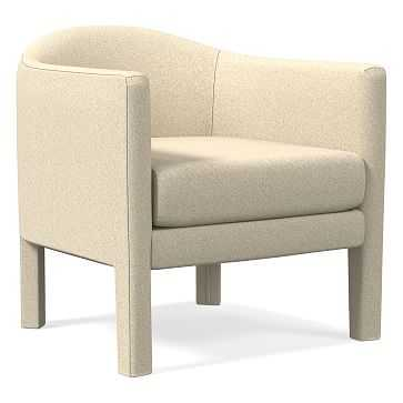 Isabella Upholstered Chair, Poly, Luxe Boucle, Angora Beige - West Elm