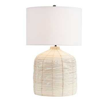 Cambria Seagrass Table Lamp with XL SS Gallery Shade, Large - Pottery Barn