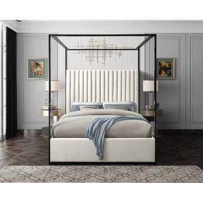 Gianluca Cream Velvet Upholstered Canopy Bed - Wayfair