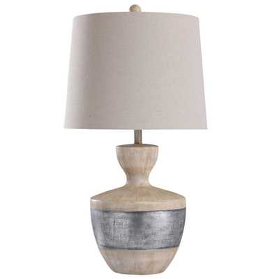 StyleCraft Haverhill 31 in. Light Tan, Silver Table Lamp - Home Depot