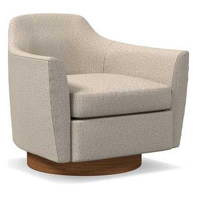 Haven Swivel Chair, Poly, Deco Weave, Stone, Dark Walnut - West Elm