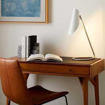 Curl Desk Lamp, White, Brushed Nickel - West Elm
