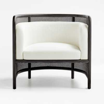 Fields Cane Black and White Chair - Crate and Barrel