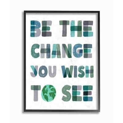 """Stupell Industries """"Be The Change Pastel Letters Kids""""by Daphne Polselli Framed Wall Art 20 in. x 16 in., Multi-Color - Home Depot"""