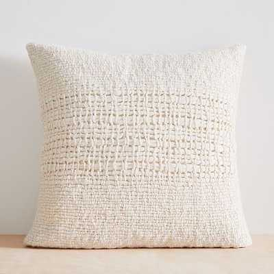 "Cozy Weave Pillow Cover, 24""x24"", Stone White - West Elm"