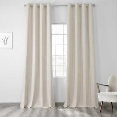 Natural Light Beige Vintage Thermal Cross Linen Weave Max Blackout Grommet Curtain - 50 in. W x 96 in. L (1 Panel) - Home Depot