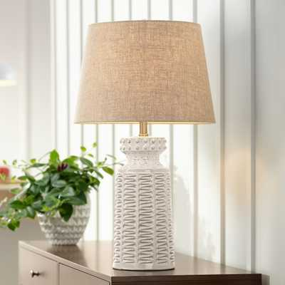 Helene Cream White Ceramic Table Lamp with Table Top Dimmer - Style # 89K50 - Lamps Plus