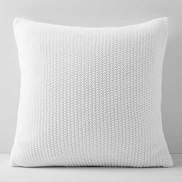 "Cotton Knit Pillow Cover 24""x24"", Set of 2, Stone White - West Elm"