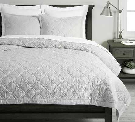 Gray Mist Washed Handcrafted Cotton Sateen Quilt, King/Cal. King - Pottery Barn