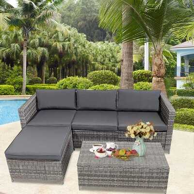5 Pieces Outdoor Patio Furniture Set, All-Weather Outdoor Small Sectional Patio Sofa Set, Wicker Rattan Patio Sofa Couch Conversation Set With Ottoman And Washable Cushions - Wayfair