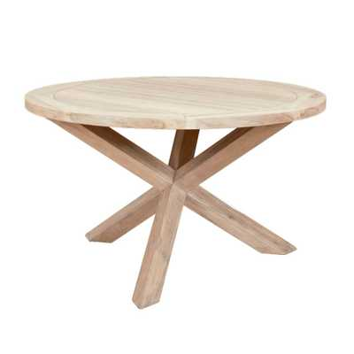 Adelaide Indoor/Outdoor Round Dining Table, Gray Teak - Lulu and Georgia