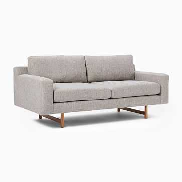 "Eddy 74"" Sofa, Deco Weave, Feather Gray, Almond - West Elm"