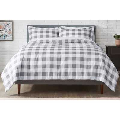 StyleWell Tatefield 2-Piece Stone Gray Reversible Gingham Twin Comforter Set - Home Depot