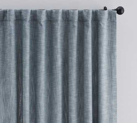 "Seaton Textured Cotton Rod Pocket Blackout Curtain, 50 x 96"", Chambray Blue - Pottery Barn"