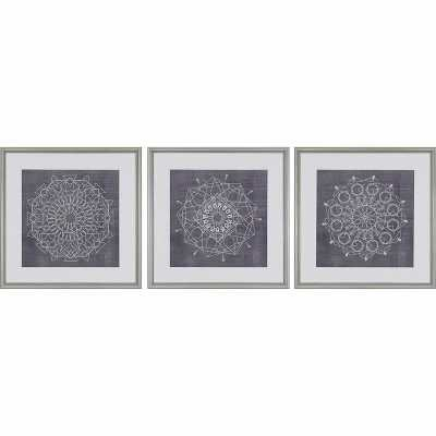 Paragon 'Geometric Tile I' by Zarris - 3 Piece Picture Frame Graphic Art Set on Paper - Perigold