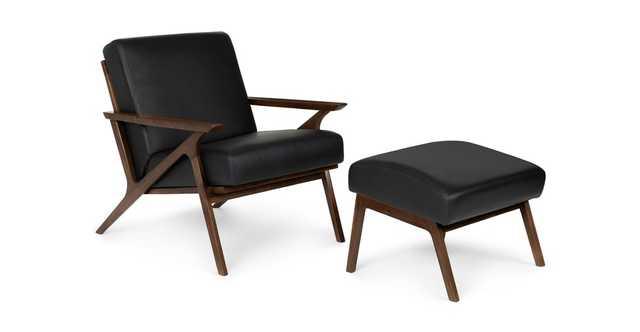 Otio Black Leather Walnut Lounge Set - Article