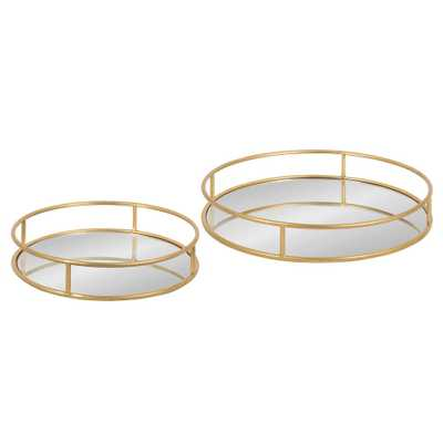 Kate and Laurel Felicia Gold Round Metal Nesting Decorative Tray Set of 2 - Home Depot