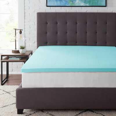 StyleWell 2 in. Gel Infused Memory Foam Full Mattress Topper, Blue - Home Depot