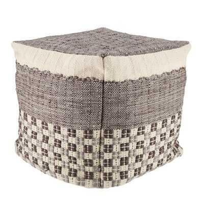 Sebastia Indoor/ Outdoor Geometric Gray/ Cream Cube Pouf - Wayfair