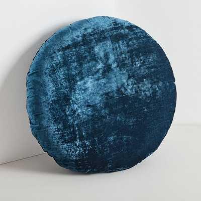 Round Lush Velvet Pillow, Regal Blue - West Elm