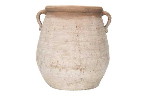 Large Orange & Whitewashed Terracotta Urn - Nomad Home