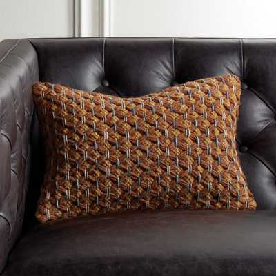 """18""""x12"""" Geema Copper Woven Pillow with Feather-Down Insert - CB2"""
